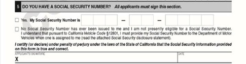Is a Social Security Number mandatory for AB 60 driver license?
